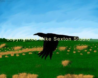Crows in Pumpkin Patch Print