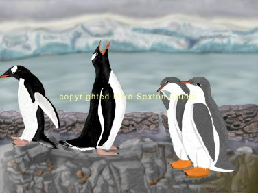 Family Day (Gentoo Penguin Print)