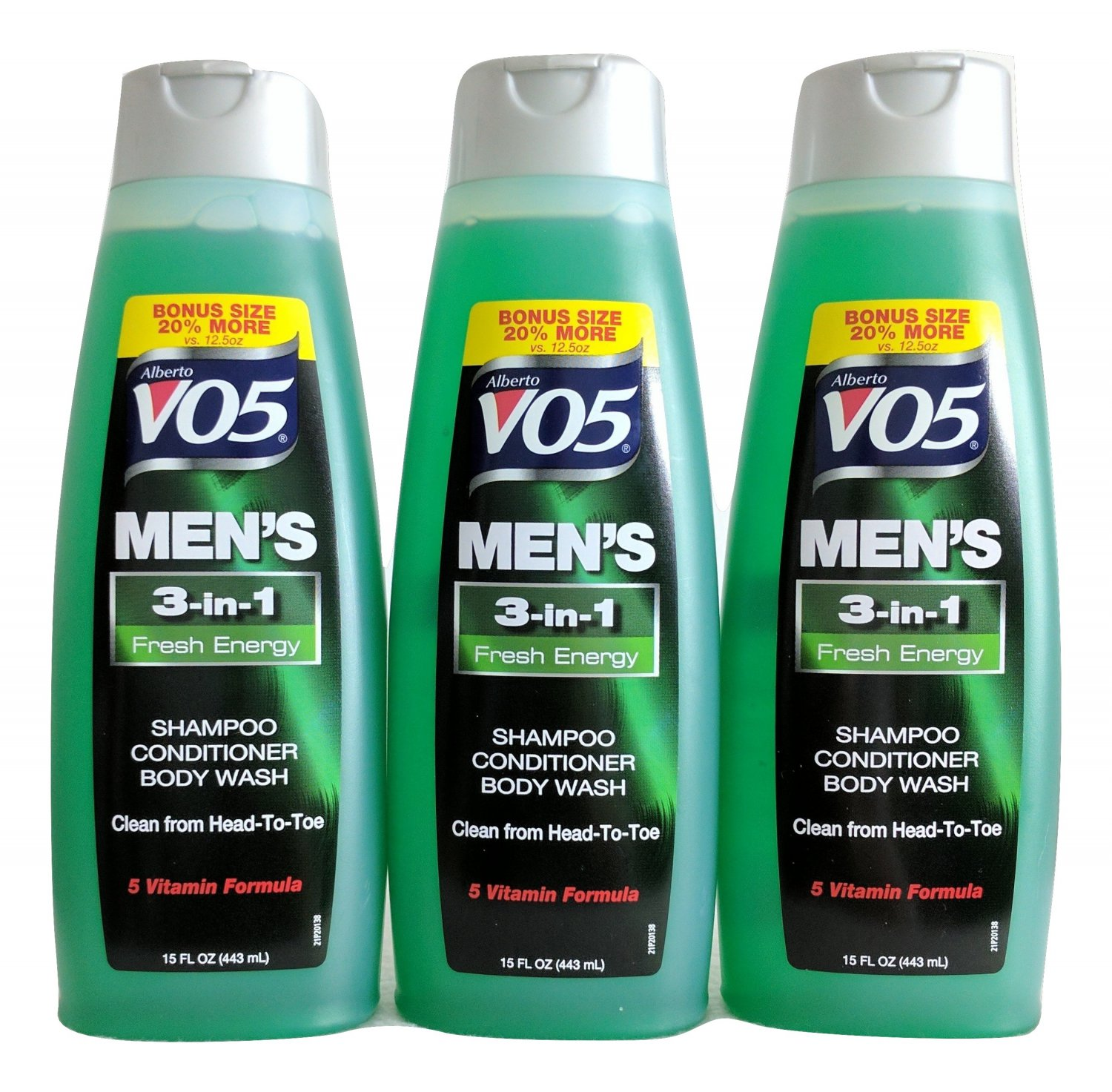 Three VO5 Men's Fresh Energy, 3-in-1, Shampoo-Conditioner-Body Wash