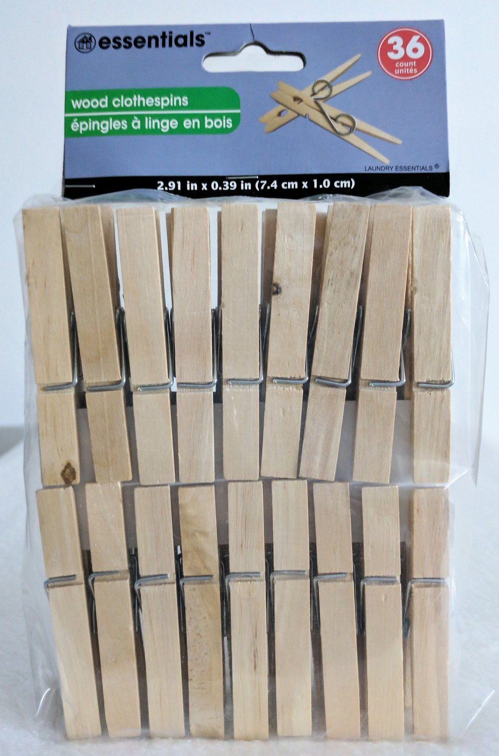 36 Count Wood Clothespins, Laundry Essentials® Wooden Clothespins Size2.91�x.39""