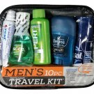 New, Man on the Go Travel Kit, 10 Pieces, Men's Getaway Easy Carry-on Kit