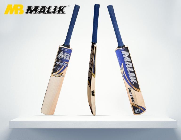 Mb Superior Cricket Bat English Willow Weight from 2.8-3.2LB With free Grip+Protector