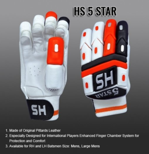 HS 5 STAR Batting Gloves Made of Original Pittards Leather Available for LH & RH Batsman