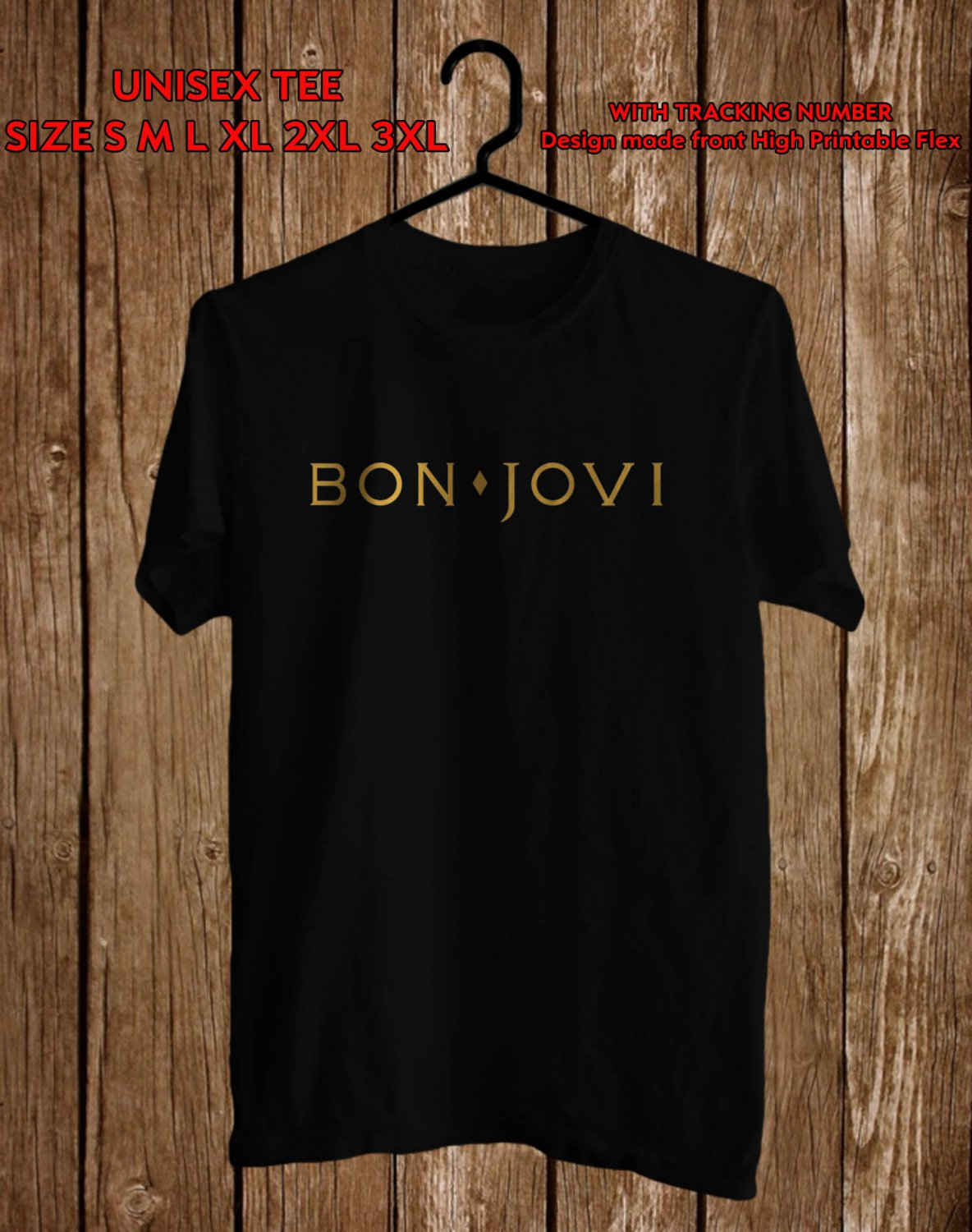 Logo of Bon Jovi Band Many Colour tee by Complexart