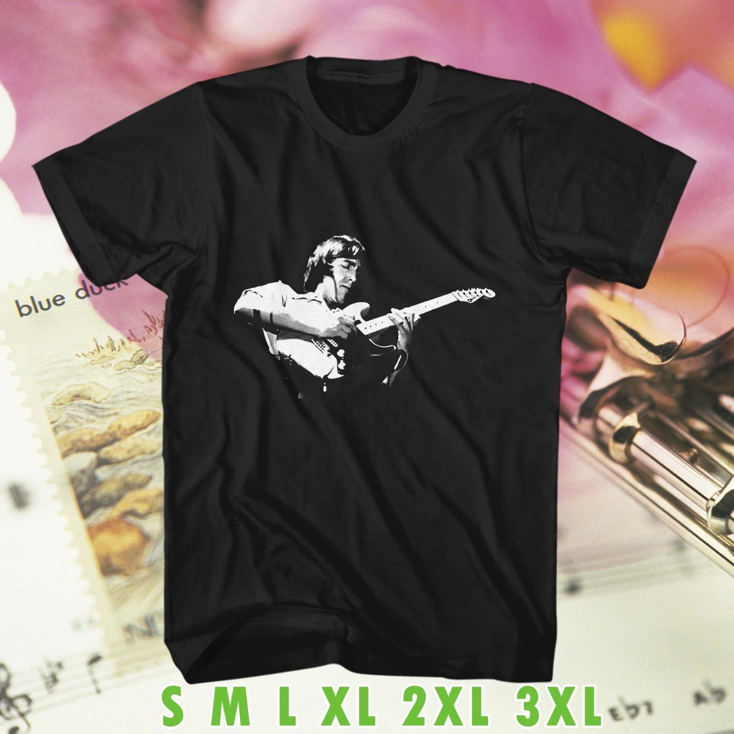Tributte to Allan Holdsworth Art Black Tee's  Front Side by Complexart c1