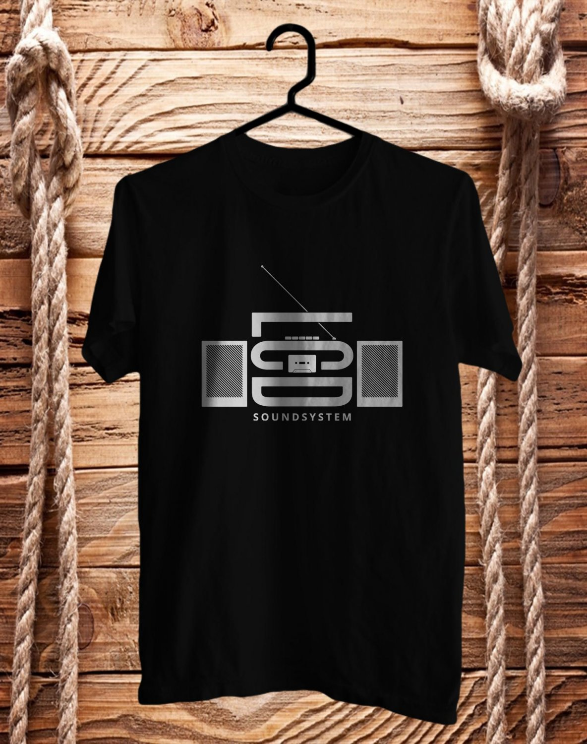 LCD Sound System Electronic Perform Black Tee's Front Side by Complexart c1