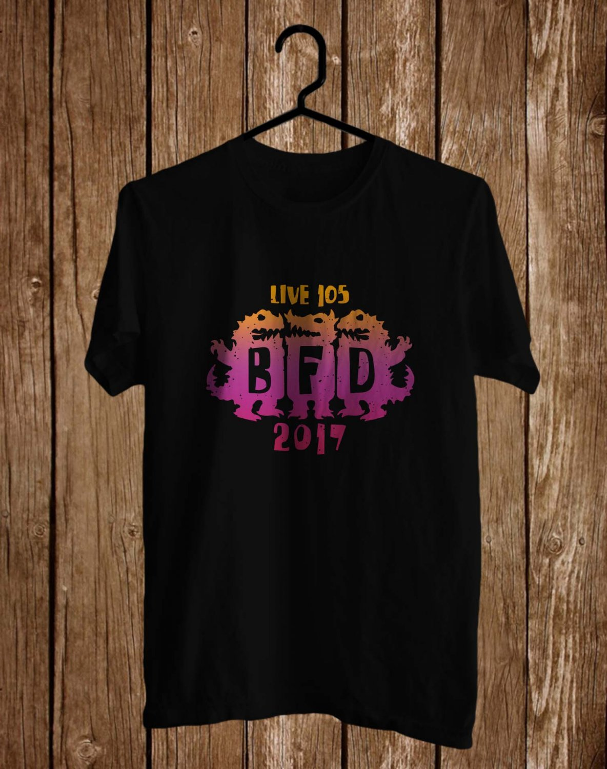 Live 105 BFD Festival Jun 2017 Black Tee's  Front Side by Complexart