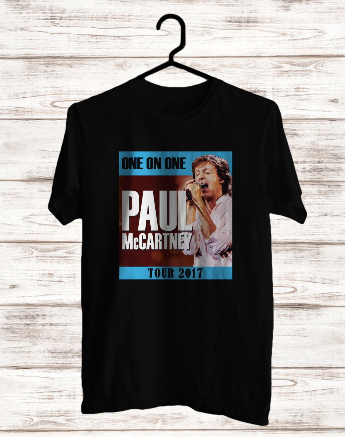 Paul McCartney One On One Tour 2017 Black Tee's  Front Side by Complexart