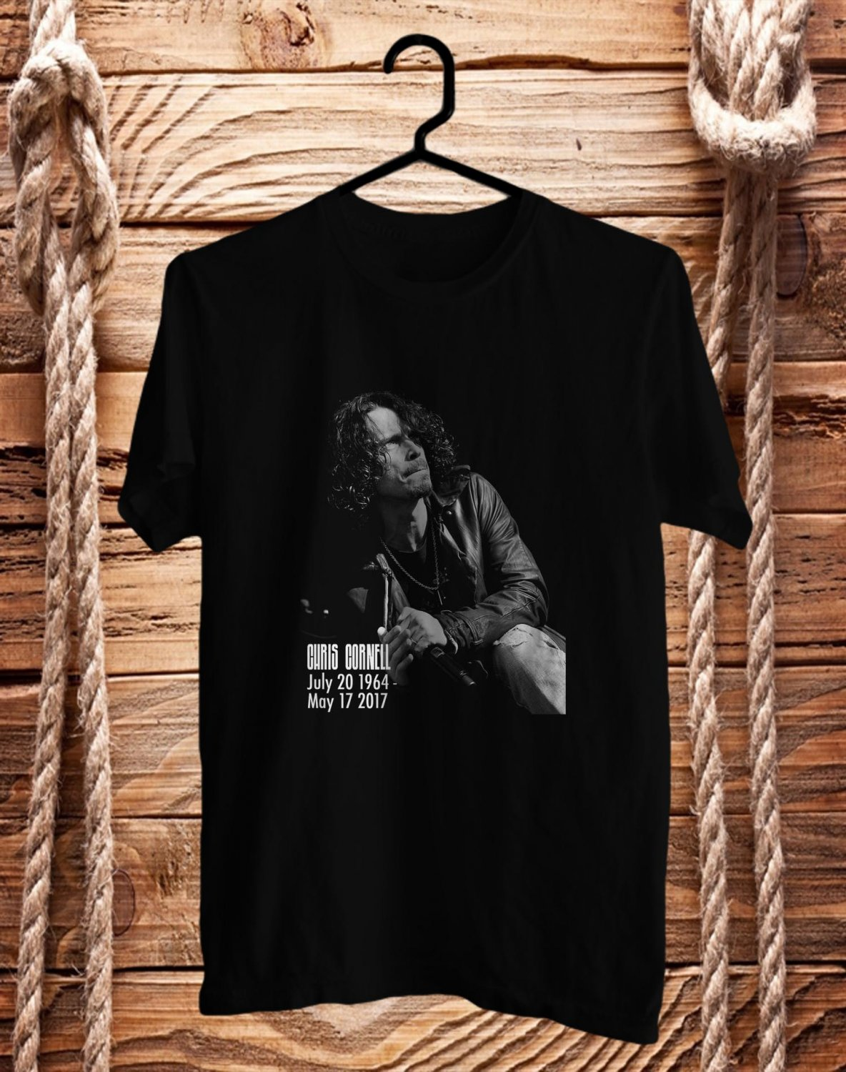 Tribute to Chris Cornell Soundgarden Vocalis BLack Tee's Front Side by Complexart