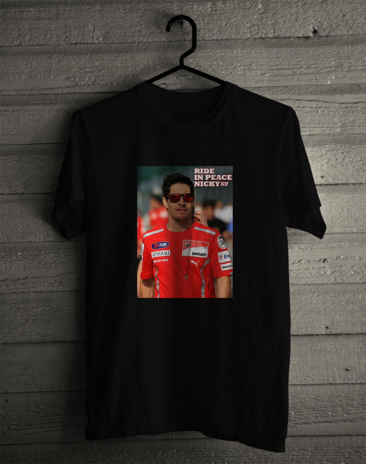 Tribute to Nicky Hayden The Kentucky Boy BLack Tee's Front Side by Complexart