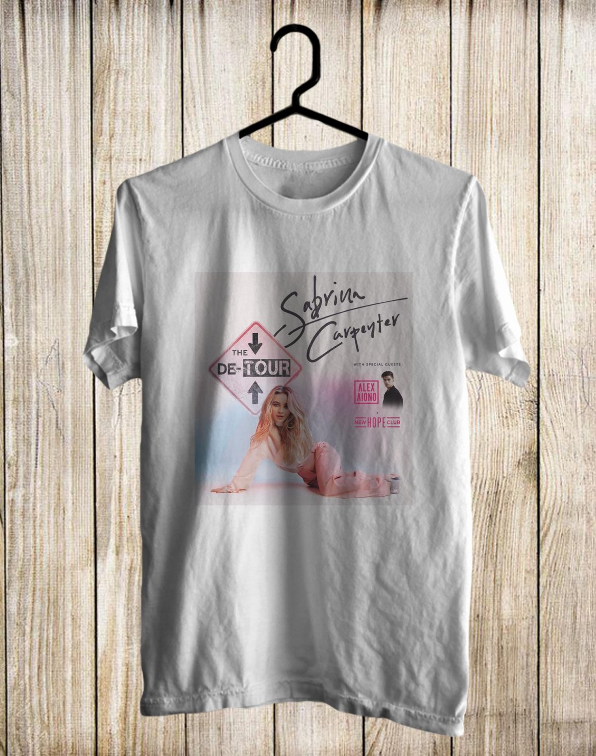Sabrina Carpenter The De-Tour 2017 White Tee's Front Side by Complexart z1