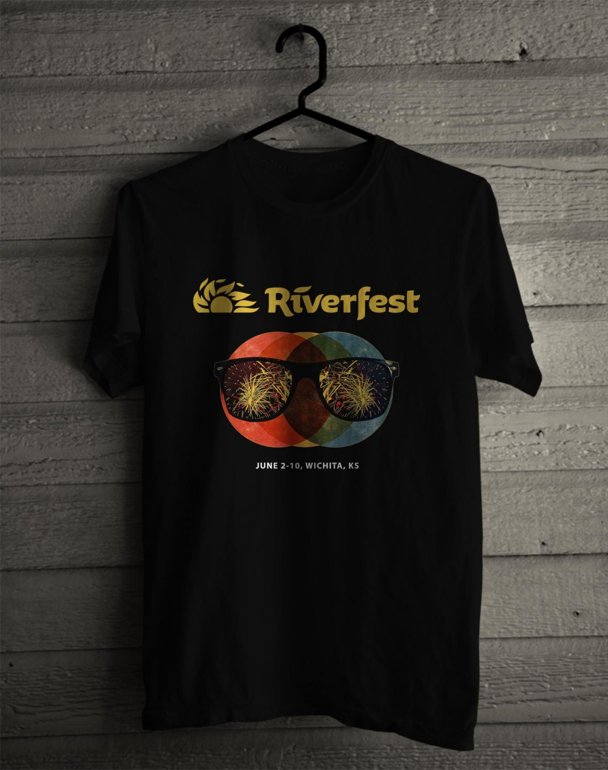 Wichita River Festival 2017 Black Tee's Front Side by Complexart z1