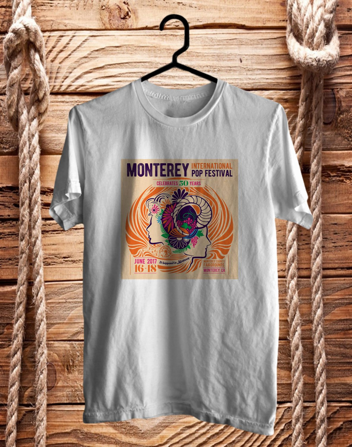 Monterey International Pop Fest 2017 White Tee's Front Side by Complexart z1