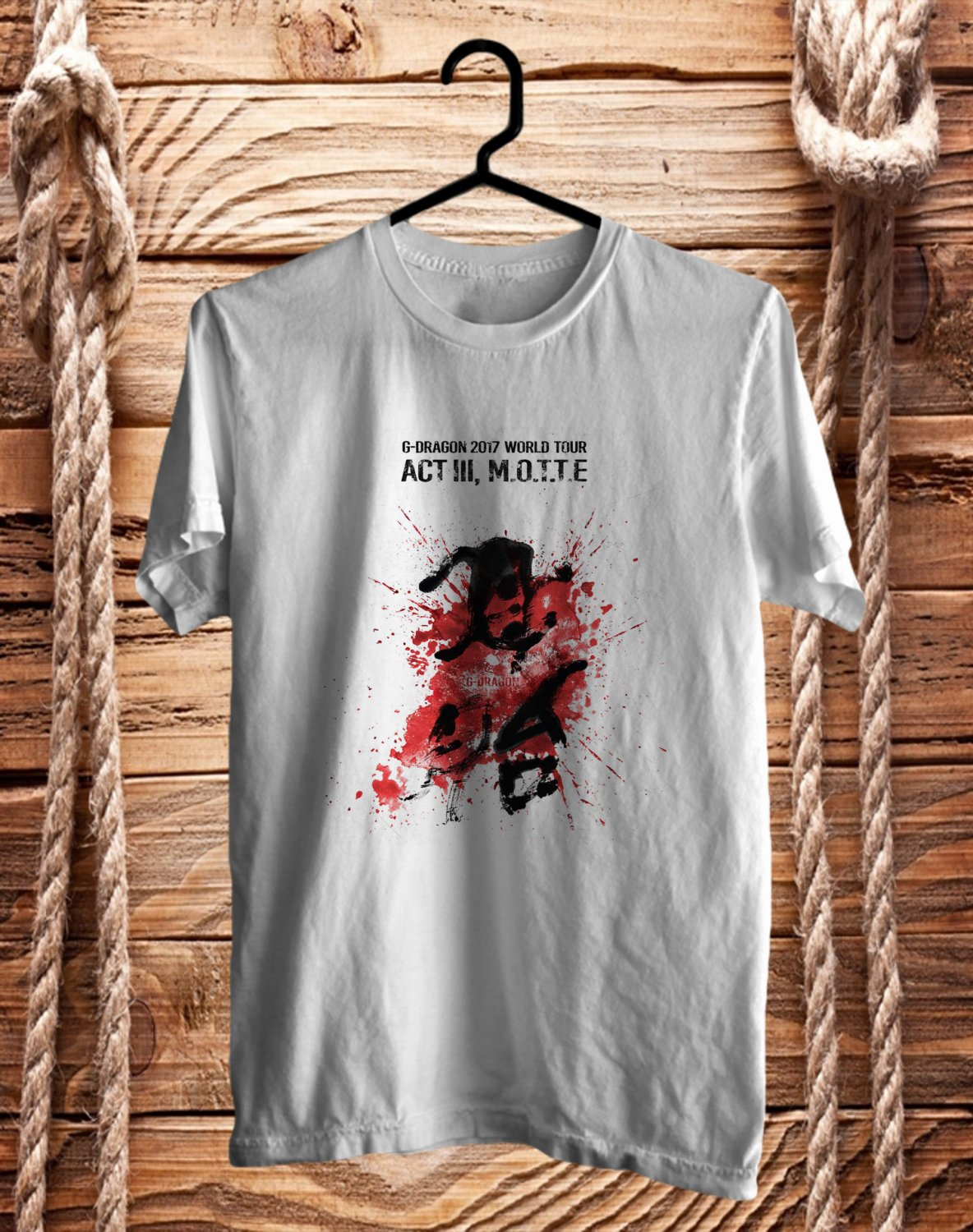 G-Dragon ACT III MOTTE WORLD TOUR 2017 White Tee's Front Side by Complexart z1