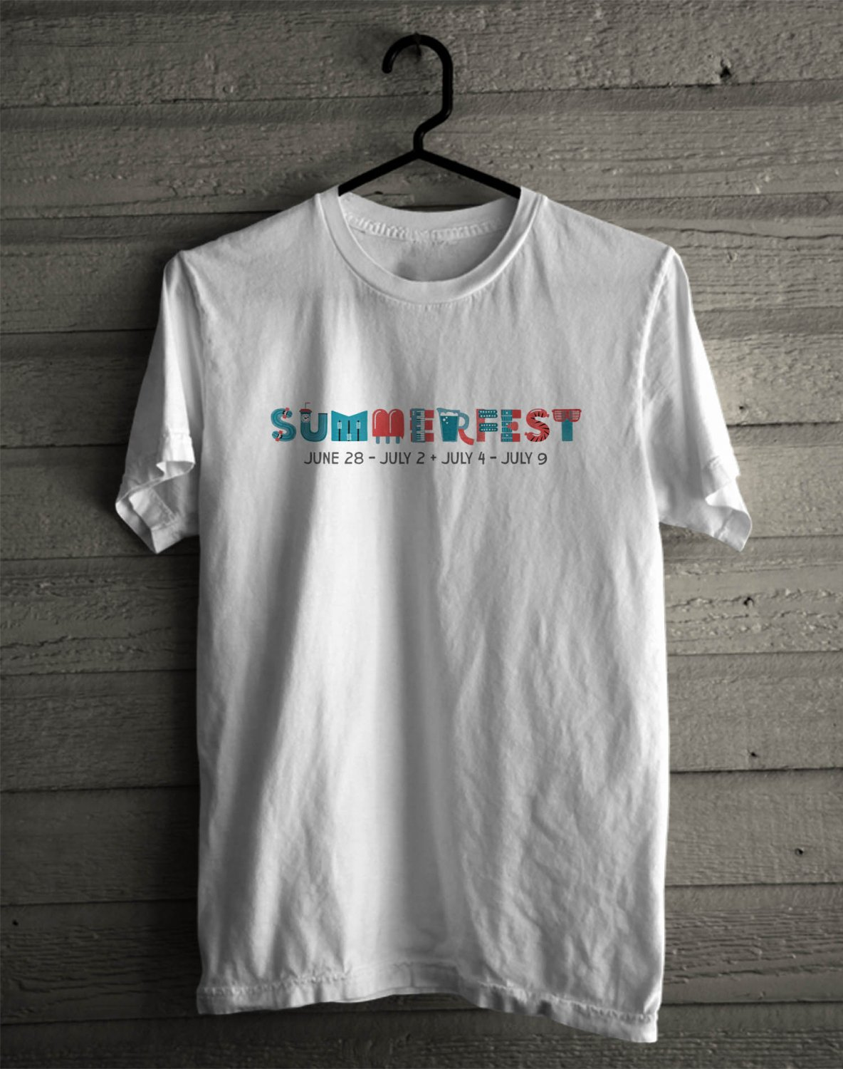 Summerfest  Milwaukee Festival June 2017 White Tee's Front Side by Complexart