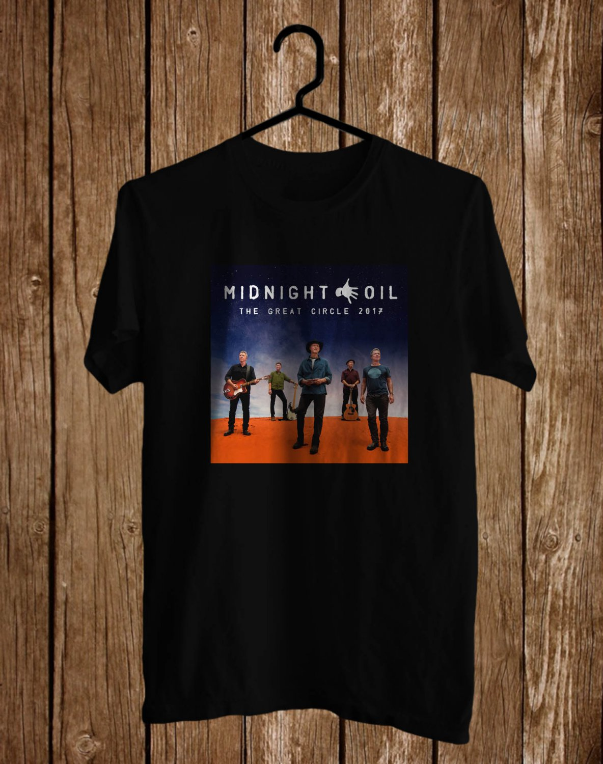 Midnight Oil The Great Circle Tour logo Black Tee's Front Side by Complexart z1