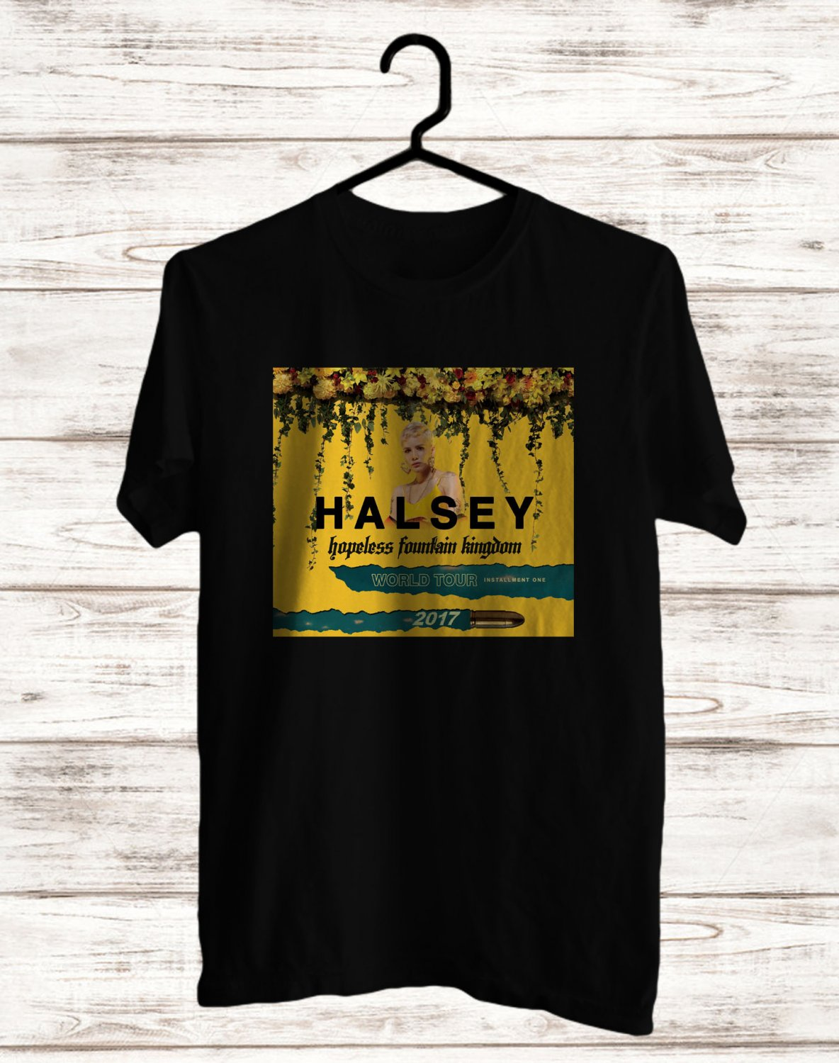 Halsey hopeless Fountain Kingdom Tour 2017 Black Tee's Front Side by Complexart z1