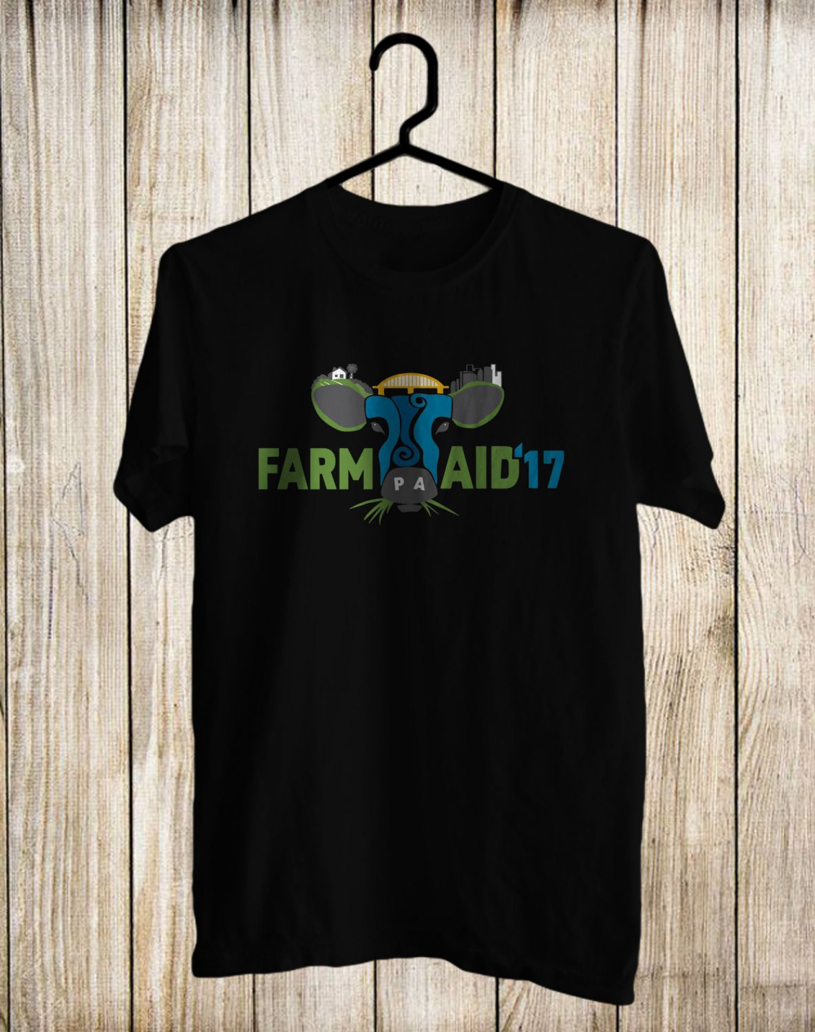 Farm Aid Music festival 2017 Black Tee's Front Side by Complexart