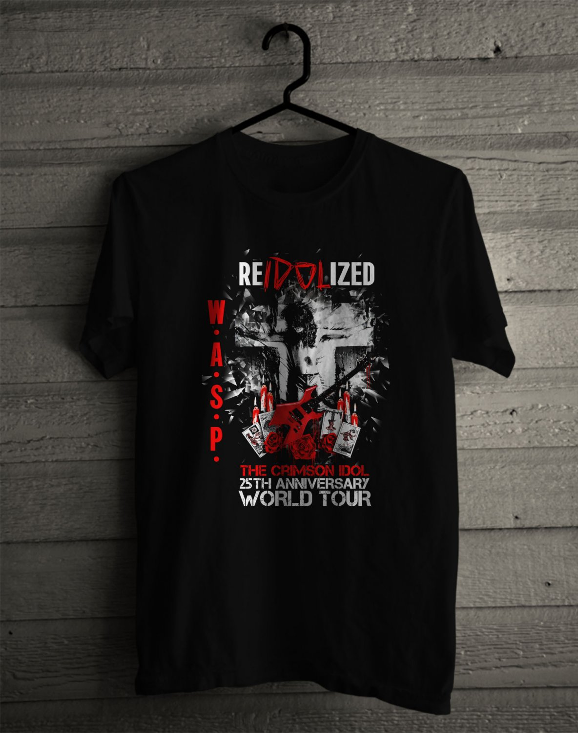 W.A.S.P reIDOLIzed 25th Anniv Tour 2017 White Tee's Front Side by Complexart