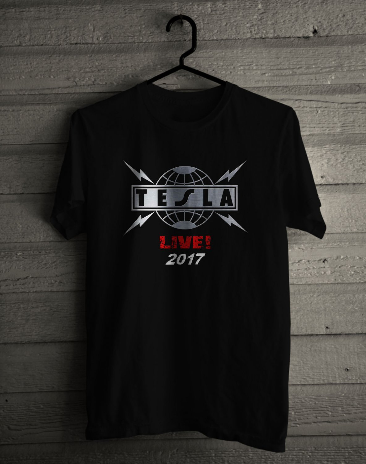 Tesla mechanical Resonance 30th Anniv Tour 2017 Black Tee's Front Side by Complexart