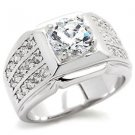 Men's Round CZ Ring Beaming in Side Stones in White Gold Plating