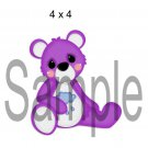 Rainbow Bear Purple left - Printed Paper Piece
