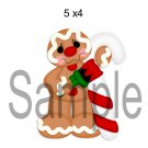 Painting Candycane Gingerbread Man right -  Printed Paper Piece