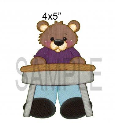 Boy at desk Bear -  Printed Paper Piece