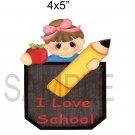 I Love School Girl -  Printed Paper Piece