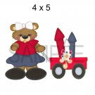 Girl Pulling Wagon Bear -  Printed Paper Piece