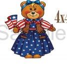USA Girl Bear -  Printed Paper Piece