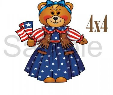 USA Girl Bear -  Printed Paper Piece