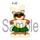 Warm Christmas Reindeer left -  Printed Paper Piece