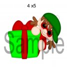 Warm Christmas Elf w/Present right -  Printed Paper Piece
