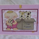"""Free Puppies Boy - 5x7"""" Greeting Card with envelope"""