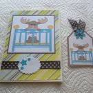 """Baby Boy 4 - 5x7"""" Greeting Card with Matching Tag and envelope"""