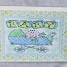 "Baby Boy Carriage - 5x7"" Greeting Card with envelope"