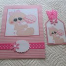 """Baby Girl 3 - 5x7"""" Greeting Card with Matching Tag and envelope"""
