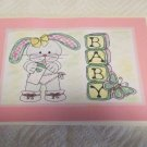 "Baby Girl Bunny a - 5x7"" Greeting Card with envelope"