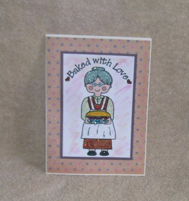 """Baked With Love 1 - 5x7"""" Greeting Card with envelope"""