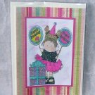 """Birthday Balloon Girl 1 - 5x7"""" Greeting Card with envelope"""