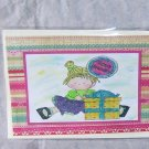 """Birthday Balloon Girl 6 - 5x7"""" Greeting Card with envelope"""