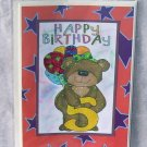 """Happy Birthday Bear 5 - 5x7"""" Greeting Card with envelope"""