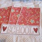 School w/Heart  - 4pc Mat Set
