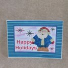 "Happy Holidays Blue Santa a - 5x7"" Greeting Card with envelope"