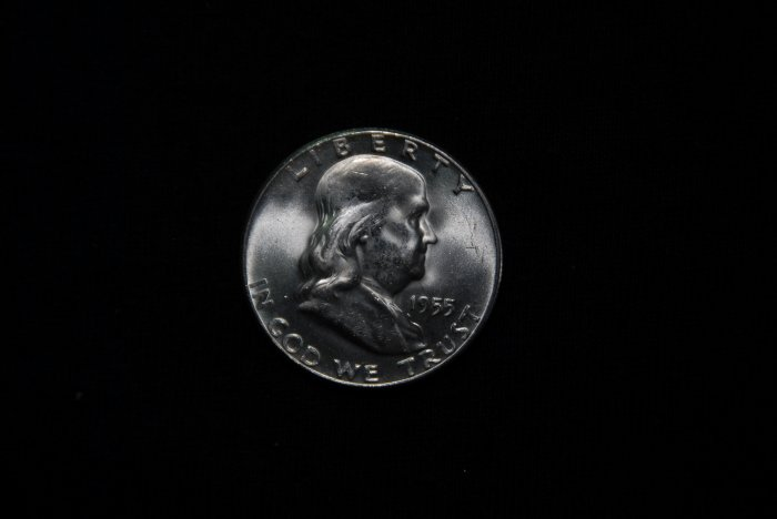 1955 FRANKLIN 90% Silver Half Dollar Gem BU from MInt Roll