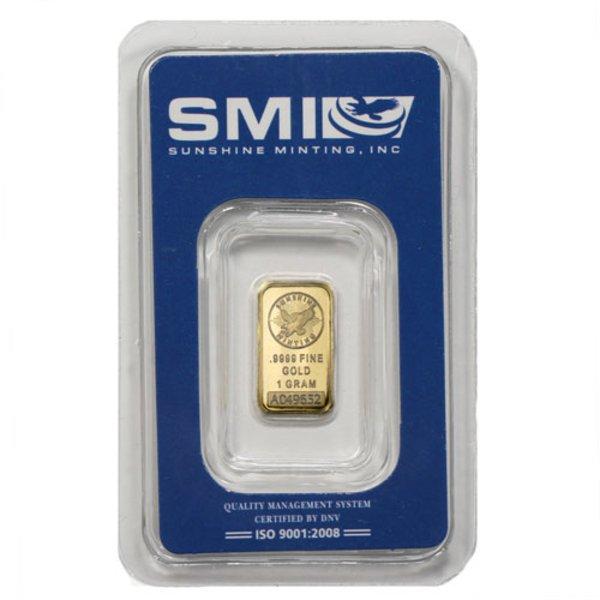 1 Gram Sunshine Gold Bar (New w/ Assay, MintMark SI)