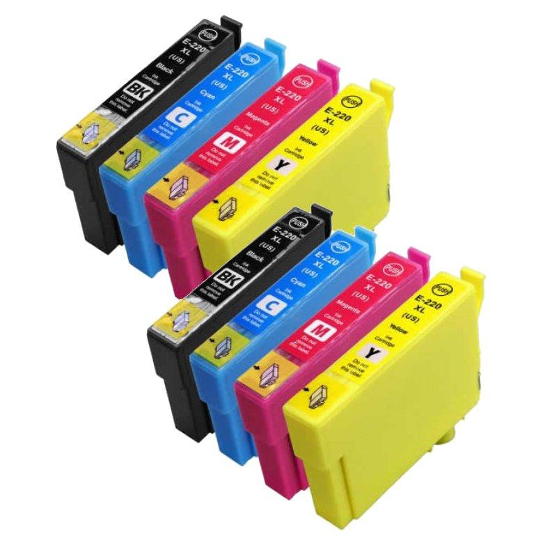 8 Pack Epson 220XL ink, XP-320, XP-420, XP-424, WF-2630, WF-2650, WF-2660