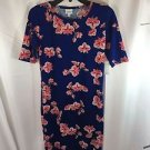 LulaRoe Royal Blue Pink White Flower Print Julia Pencil Dress Small S NEW NWT