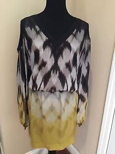 Leifsdottir multi color silk dress with shoulder cutouts - size 10 Green Black